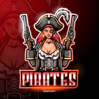 Vrouwelijke piraten mascotte logo voor elektronische sport gaming logo