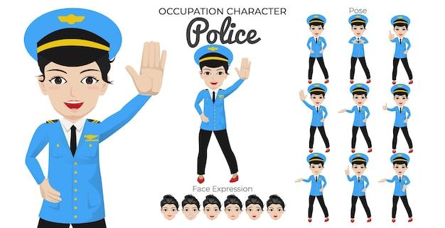 Vrouwelijke politie-tekenset met een verscheidenheid aan houding en gezichtsuitdrukking