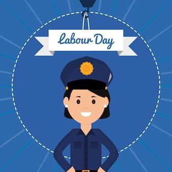 Vrouwelijke politieagent avatar karakter