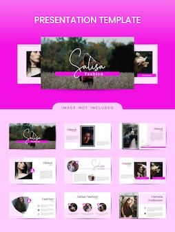 Vrouwelijke presentatie boekje sjabloon voor mode winkel