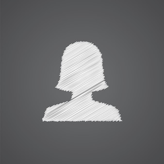 Vrouwelijke profiel schets logo doodle pictogram geïsoleerd op donkere achtergrond