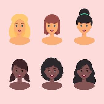 Vrouwelijke profielavatar met verschillende huidskleur en kapsel