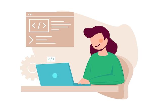Vrouwelijke programmeur. vrouw die code schrijft, contentmanager. jong meisje die aan laptop vectorillustratie werken. programmeur vrouw software, computertaal geschreven door freelancer