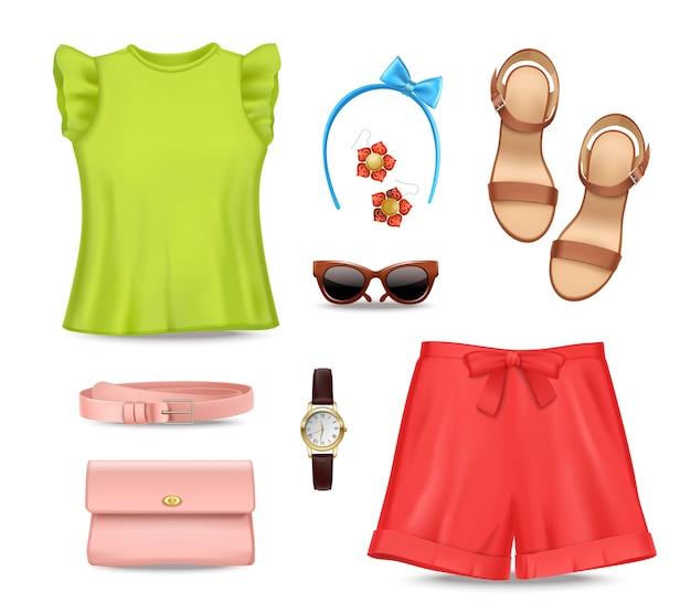Vrouwelijke romantische kleurrijke zomer kleding en accessoires instellen