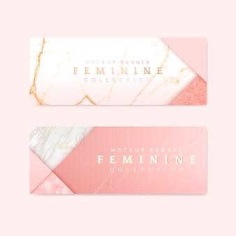 Vrouwelijke roze banners