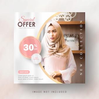 Vrouwelijke roze gouden instagram post of vierkante sjabloon voor spandoek