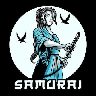 Vrouwelijke samurai illustratie
