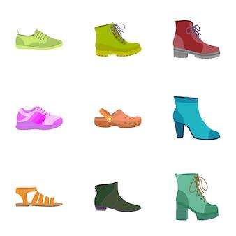 Vrouwelijke schoenen pictogramserie. platte set van 9 vrouwelijke schoenen pictogrammen