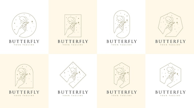 Vrouwelijke schoonheid logo handen vlinder sterren en vrouw hand voor make-up spa salon huid haarverzorging
