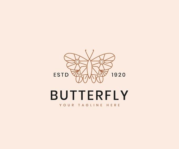 Vrouwelijke schoonheid vlinder lijn kunst elegante luxe logo ontwerpsjabloon voor cosmetische merk