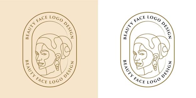 Vrouwelijke schoonheid vrouw gezicht minimalistische lijntekeningen hand getrokken logo