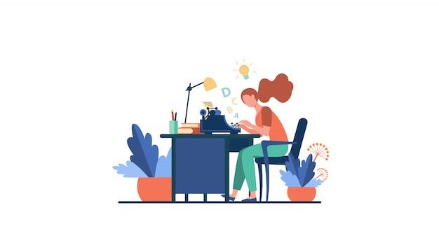 Vrouwelijke schrijver met behulp van retro typemachine