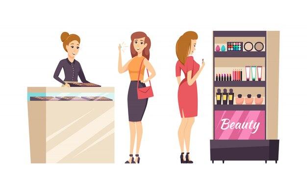 Vrouwelijke shopaholic kiezen cosmetica set