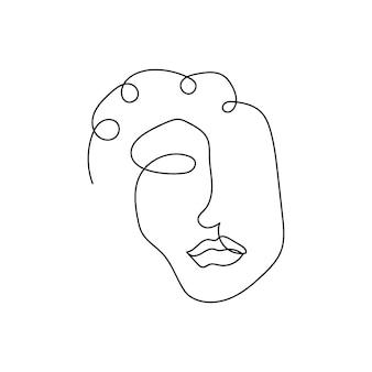 Vrouwelijke silhouet doorlopende lijntekening een lijn kunst van gelaatstrekken dames sterkte