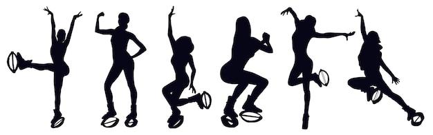 Vrouwelijke silhouetten doen oefeningen in kangoo-springlaarzen zoals knie omhoog, jacks, slinger, seethes, squat, beenzwaai. zumba en latina dansschoenen klasse. cardiofitness en gewichtsverlies, hiit.