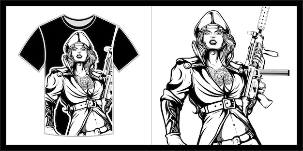 Vrouwelijke soldaten illustratie voor t-shirtontwerp