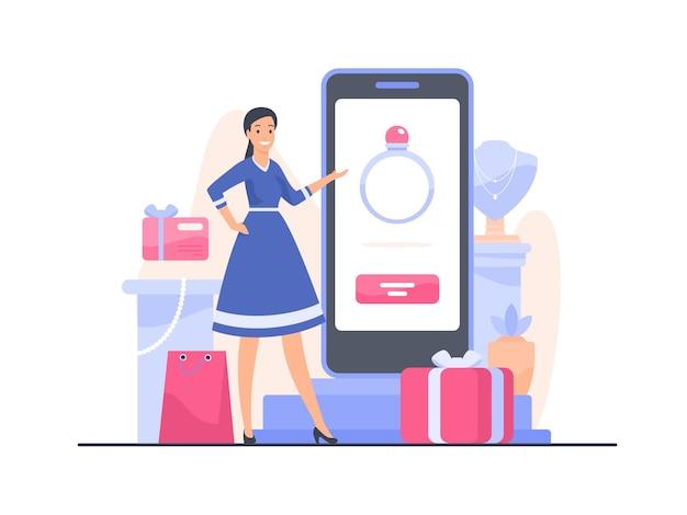 Vrouwelijke stripfiguur adviseur verkoper van een juwelier biedt aan om een ring te kopen in de mobiele applicatie van de online winkel