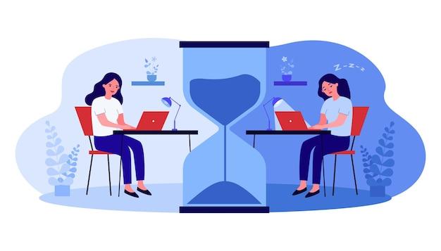 Vrouwelijke stripfiguur die laat thuis of op kantoor werkt. energieke en slaperige vrouwen aan het bureau gescheiden door enorme zandloper platte vectorillustratie. werkplek, deadlineconcept voor banner, websiteontwerp
