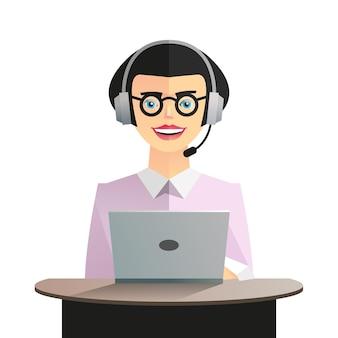 Vrouwelijke stripfiguur geïsoleerd op een witte achtergrond met een laptop