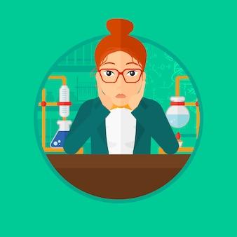 Vrouwelijke student die bij laboratoriumklasse werkt.