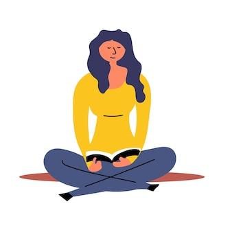 Vrouwelijke student lotuspositie leesboek