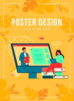 Vrouwelijke student luisteren webinar online poster sjabloon Gratis Vector
