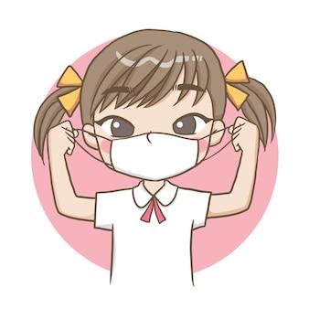 Vrouwelijke student met een masker schattig karakter cartoon model emotie illustratie illustraties Premium Vector