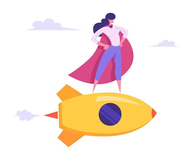 Vrouwelijke superheld in rode mantel vliegen op gouden raket illustratie