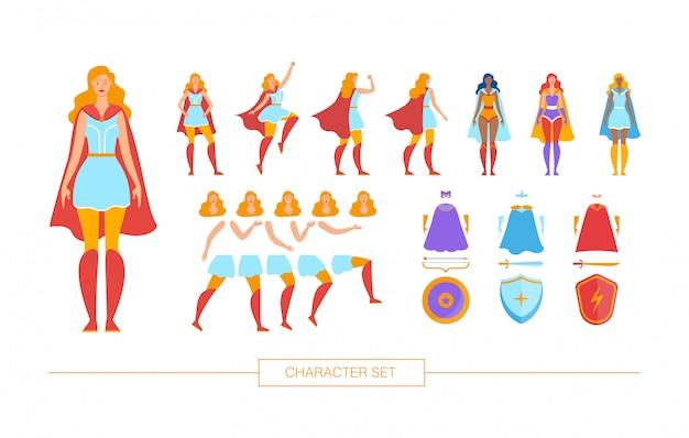 Vrouwelijke superheld karakter constructor plat