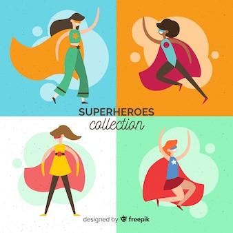 Vrouwelijke superheld karaktercollectie met plat ontwerp