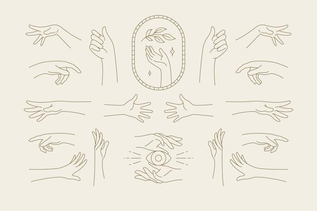 Vrouwelijke symbolen voor het embleem van mode-huidverzorging, cosmetica en het logo van verpakkingen of schoonheidsproducten