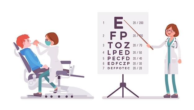 Vrouwelijke tandarts en oogarts