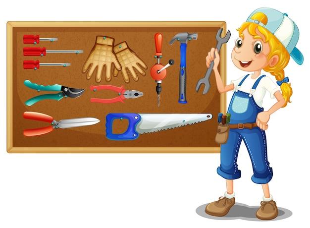 Vrouwelijke technicus met veel tools