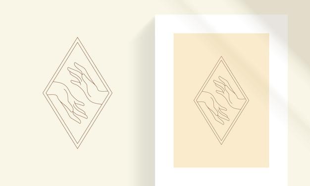 Vrouwelijke tedere handen als liefde en zorg concept lijn kunst stijl vectorillustratie