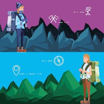 Vrouwelijke toeristen in camping zone