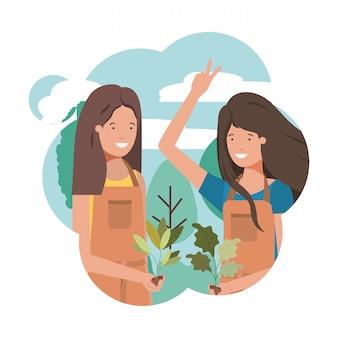 Vrouwelijke tuiniers met landschap avatar karakter
