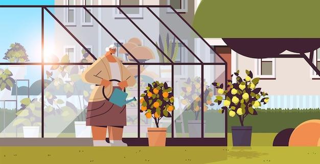Vrouwelijke tuinman met gieter die voor ingemaakte citroen- en sinaasappelplanten zorgt in de achtertuinkas