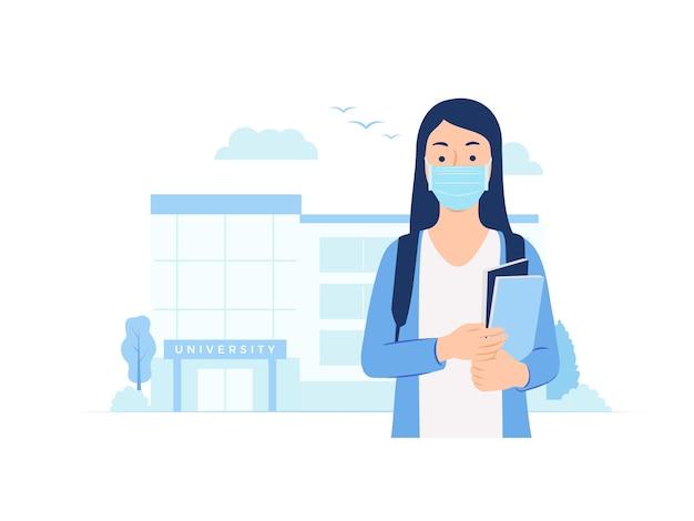 Vrouwelijke universiteitsstudent die naar de universiteit gaat die beschermend masker in de illustratie van het campusconcept draagt
