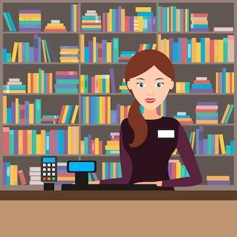 Vrouwelijke verkoper in een boekhandel. vector illustratie