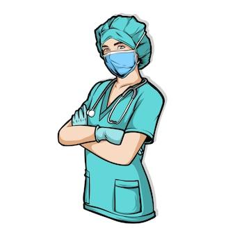 Vrouwelijke verpleegster die chirurgiemasker draagt