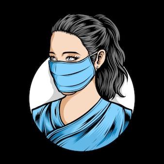 Vrouwelijke verpleegster die medisch masker draagt