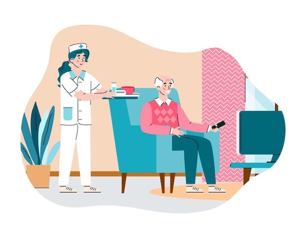 Vrouwelijke verpleegster die voor oudere man zorgt in verpleeghuis een illustratie