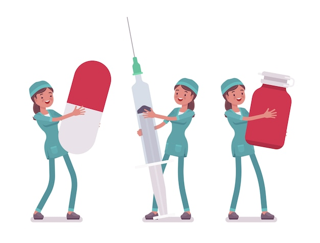 Vrouwelijke verpleegster en grote hulpmiddelen