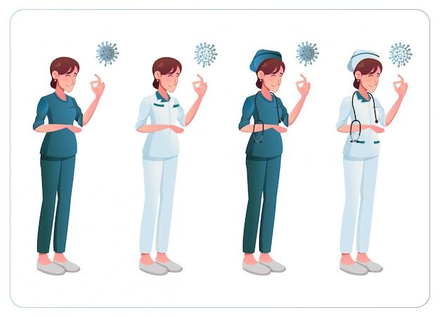 Vrouwelijke verpleegster met coronavirus nieuwe covid 19 illustratie