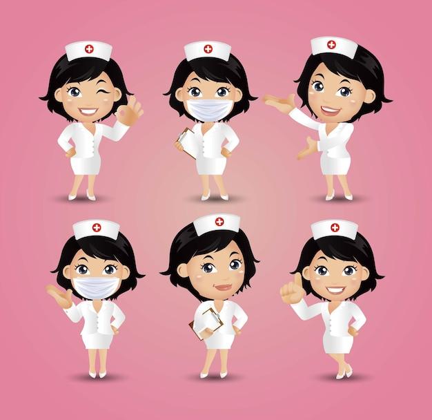 Vrouwelijke verpleegster met verschillende poses