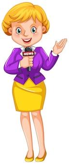 Vrouwelijke verslaggever die nieuws rapporteert