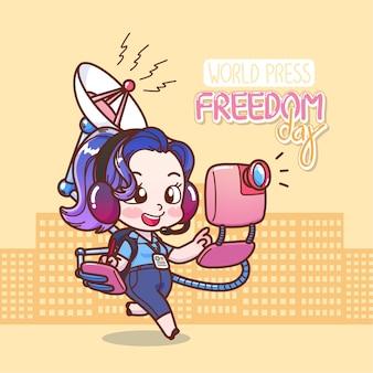 Vrouwelijke verslaggever van de dag van de persvrijheid