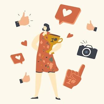 Vrouwelijke vip-personage met gouden beker in handen poseren voor paparazzi.