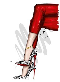 Vrouwelijke voeten in stijlvolle schoenen met hoge hakken