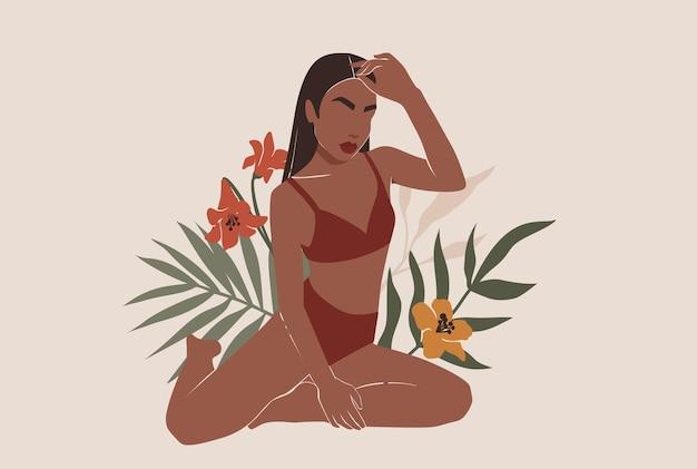 Vrouwelijke vorm, abstract vrouwenlichaam in zwempakillustratie.